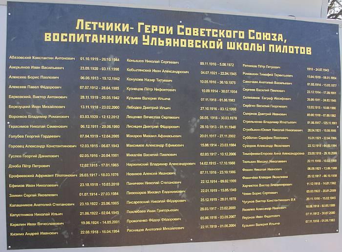 Памятная доска лётчиков-героев Ульяновской школы пилотов на постаменте памятника. Фото В.И. Будкевича, 7.5.2015 г.