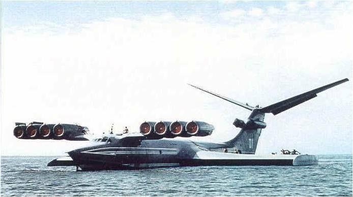 Экраноплан КМ (''Корабль-макет'') во время стоянки