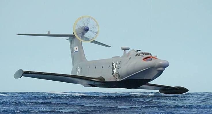 Десантный экраноплан ''Орлёнок'' ВМФ России в полёте