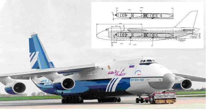 Рис.3 Самолёт Ан-124-100ВС с ракетой.