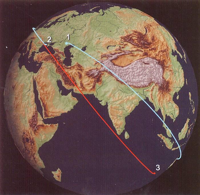 Траектория полётов КА БОР-4 при старте с космодрома Капустин Яр (обозначение №1) и приводнением в Чёрное море (№2) и Индийский океан (№3). Рис. В.П. Лукашевича