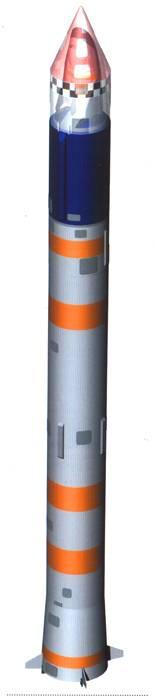 """РН """"Космос-3М"""" (К65М-РБ) с КА БОР-4. Головной обтекатель условно показан полупрозрачным. Рис. А. Маханько"""