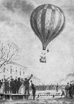 Подъем М.А. Рыкачёва на воздушном шаре