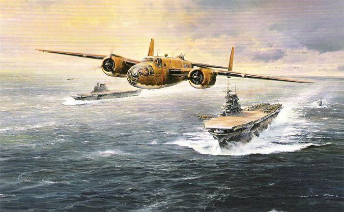 """Взлет бомбардировщика В-25 «Митчелл» с палубы авианосца """"Хорнет"""""""