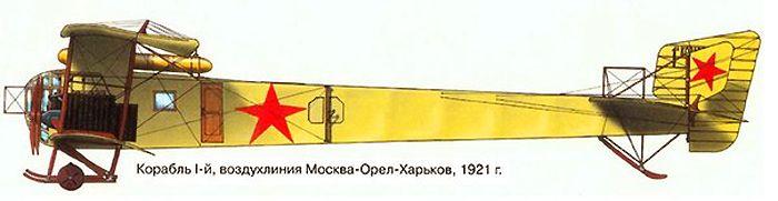 """Бомбардировщик """"Илья Муромец"""", ставший после Гражданской войны пассажирским транспортным самолётом."""