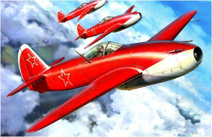 Первый реактивный истребитель Як-15, принятый на вооружение ВВС СССР. Первый полёт 24 апреля 1946 г.