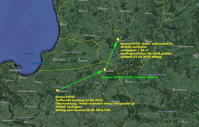 Схема перелета Ольштын-Каунас