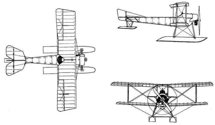 Поплавковый вариант самолёта-истребителя С-16 конструкции И.И. Сикорского, 1916 г.