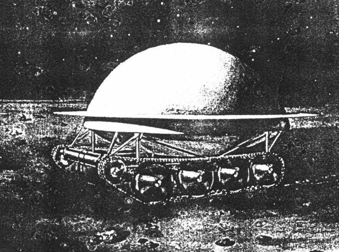 """Первые """"прорисовки"""" внешнего вида Лунохода, показанные С.П. Королёву во время его первого приезда во ВНИИтрансмаш. Из отчёта 1964 года."""