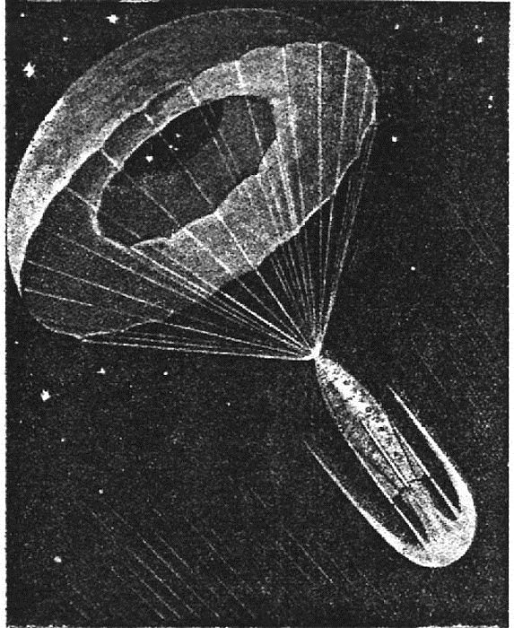 Спуск межпланетного корабля на землю при помощи парашюта